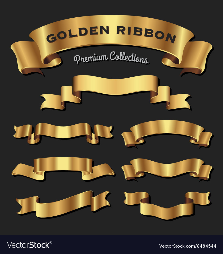 Set of premium golden ribbons for your design vector image