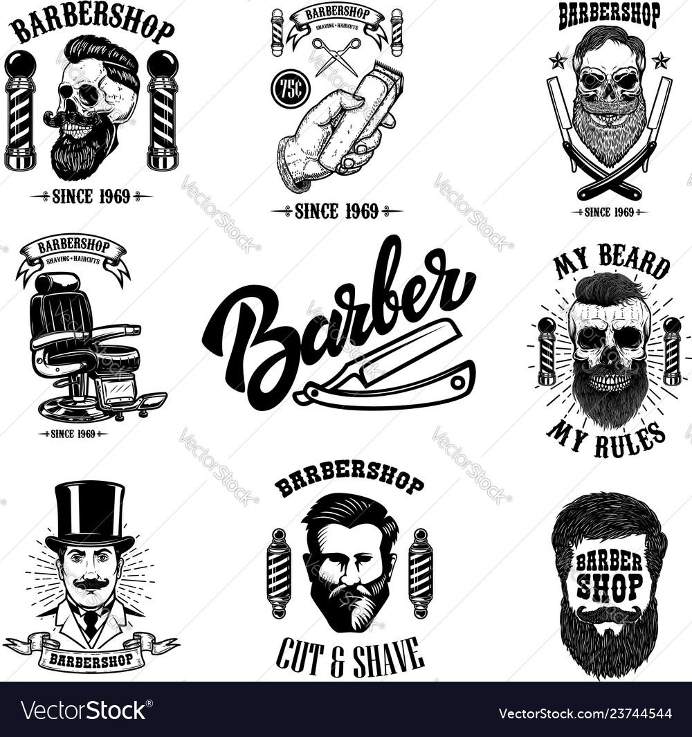 Set of vintage barber shop emblems badges and