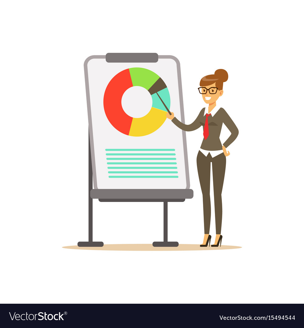 Smiling businesswoman pointing at a whiteboard vector image