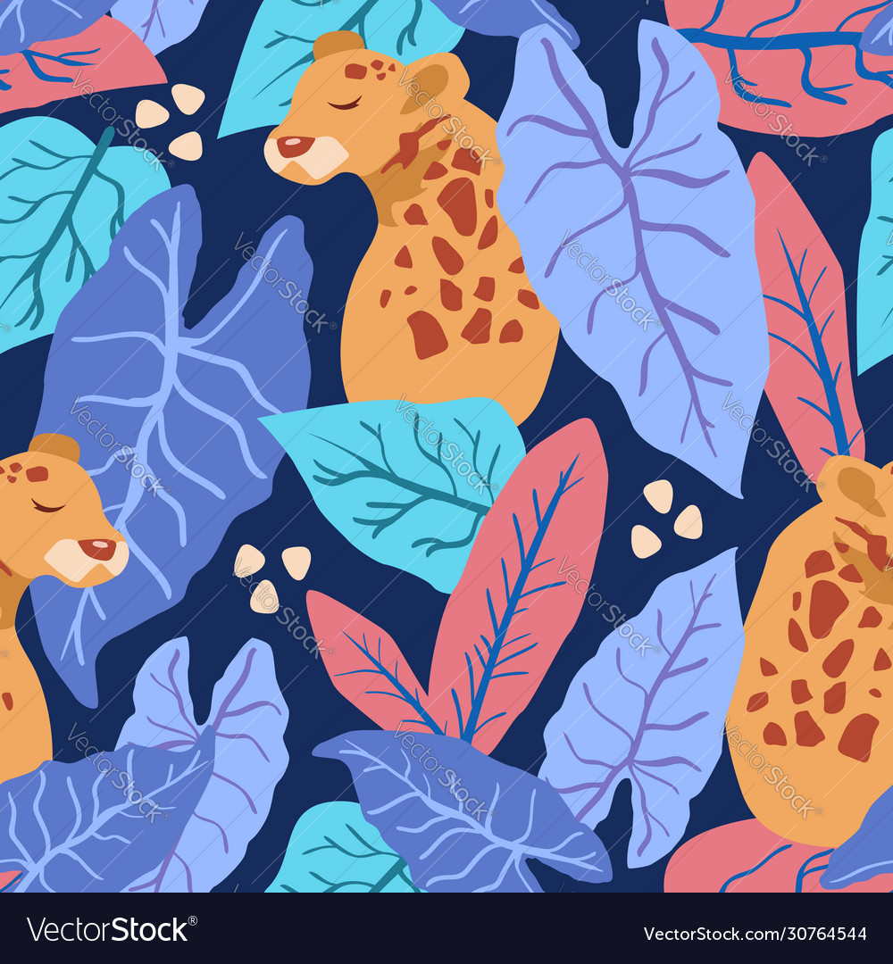 Tropical leaves with leopard seamless pattern