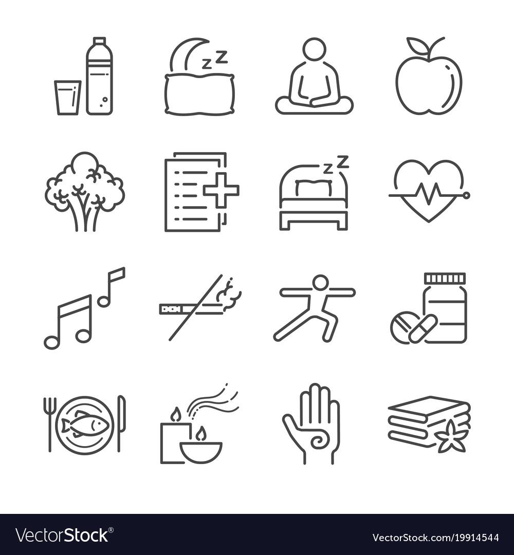 Wellness life line icon set