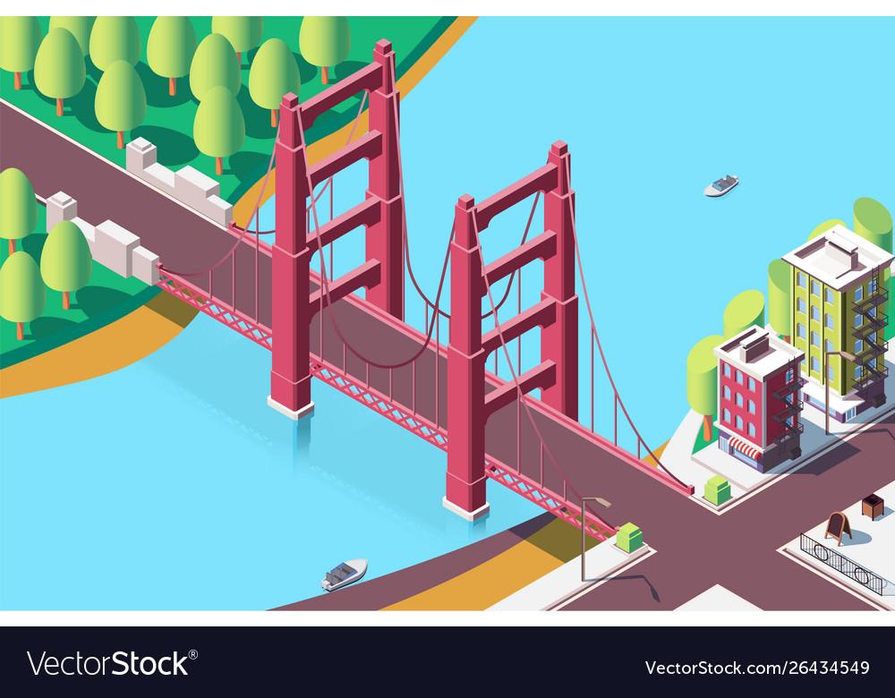 3d isometric classic new york bridge with urban