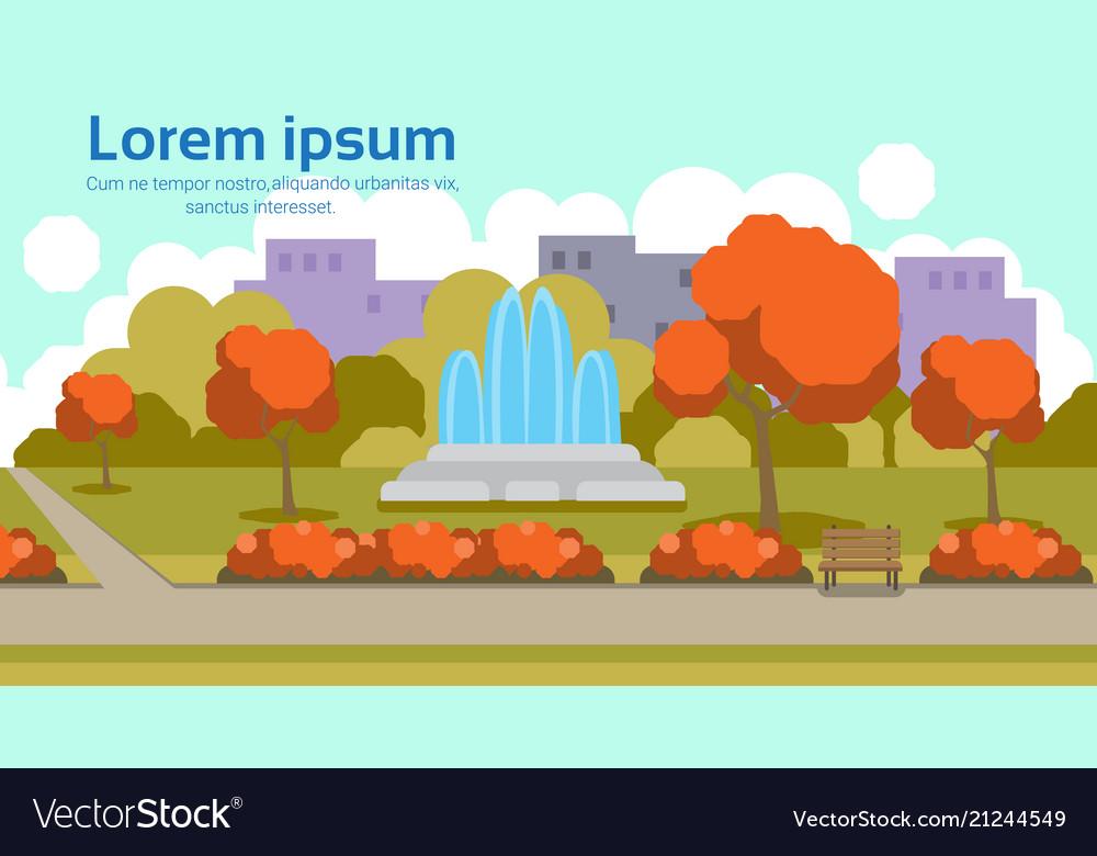Autumn urban yellow park outdoors fountain