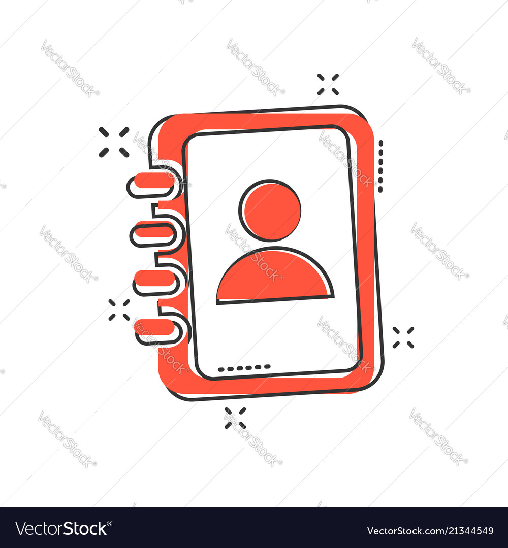 Cartoon address book icon in comic style contact
