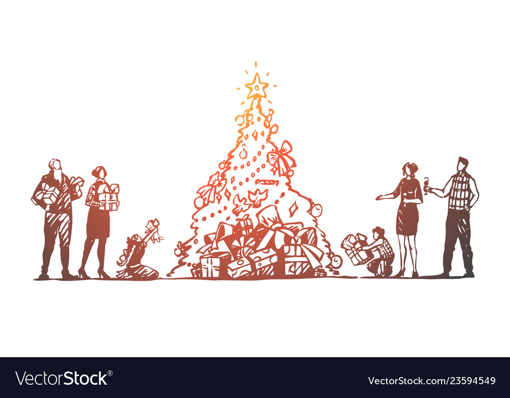 Christmas big family tree celebration happy