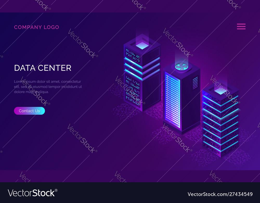 Date center isometric concept server racks icons