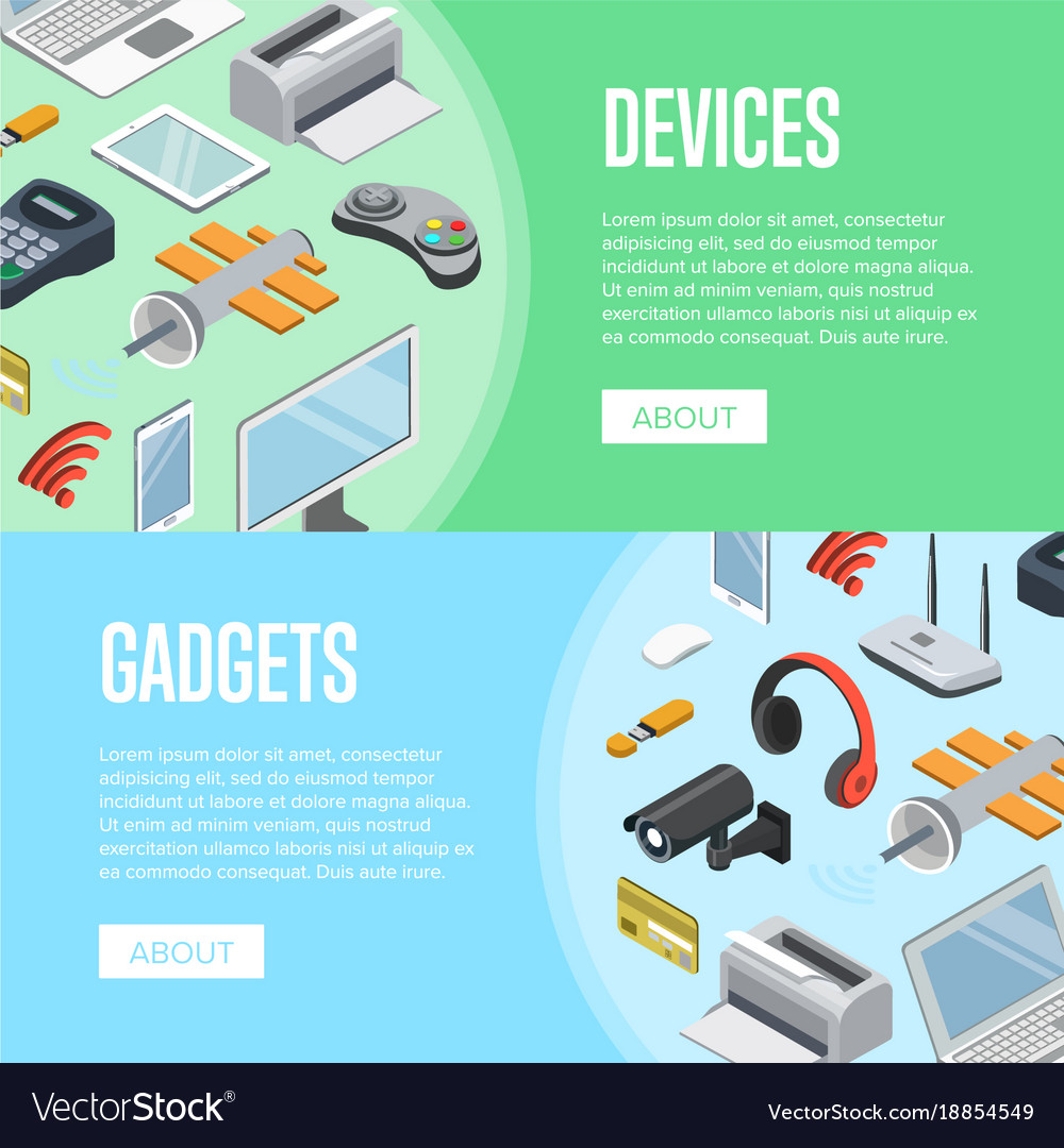 Gadgets and computer devices isometric posters