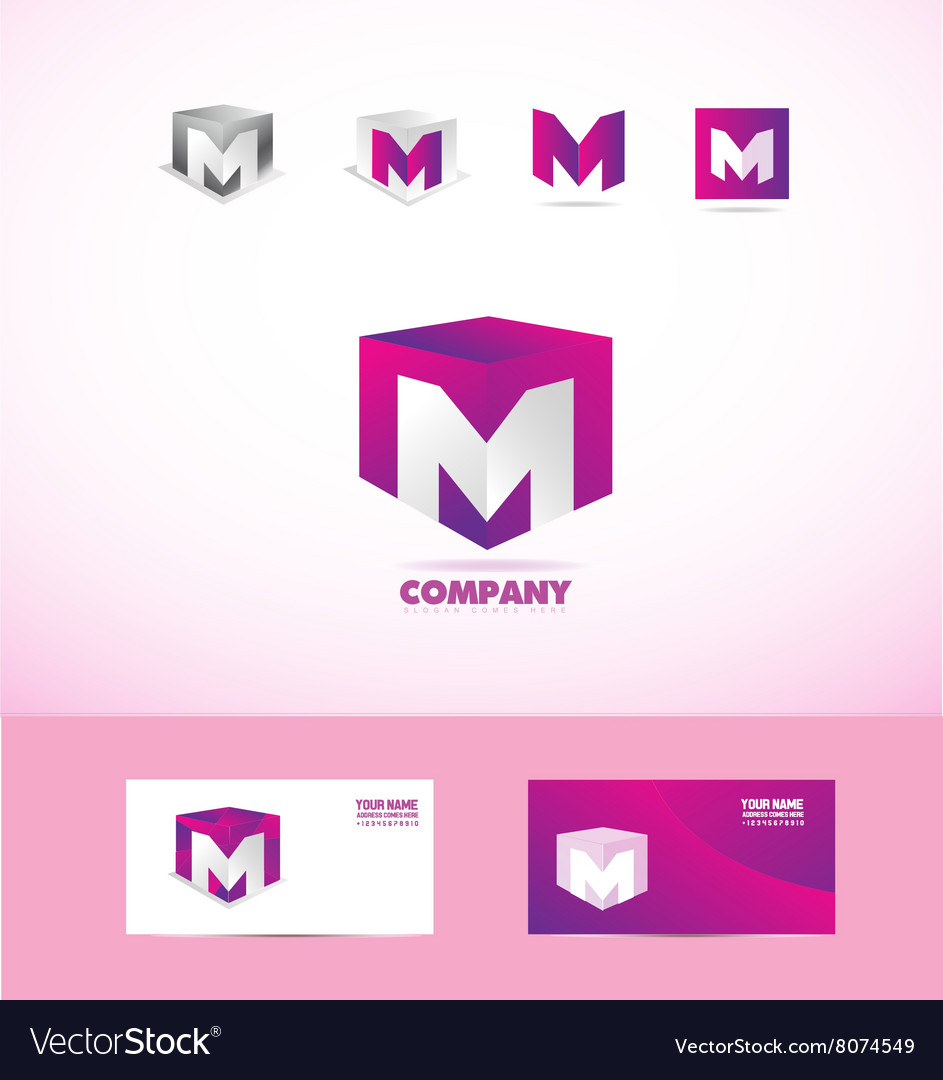 Letter M cube logo icon set Royalty Free Vector Image