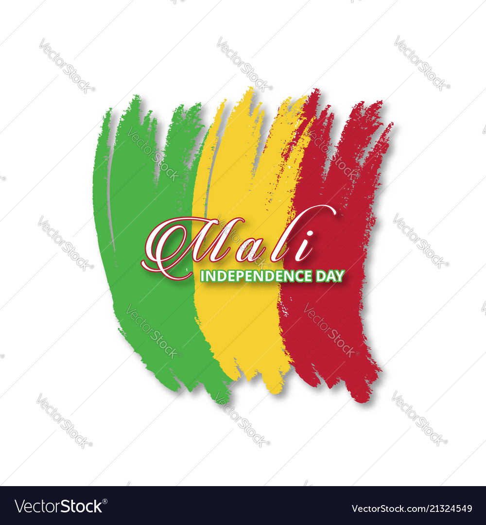 Mali brush stroke flag with typography vector image