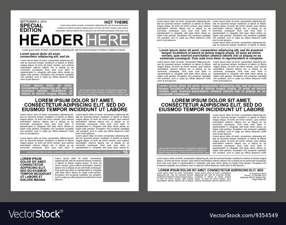 Newspaper Template Royalty Free Vector Image - VectorStock