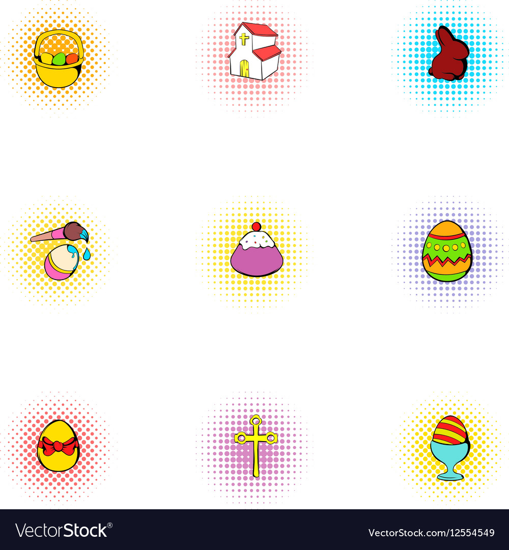 Resurrection of Christ icons set pop-art style vector image
