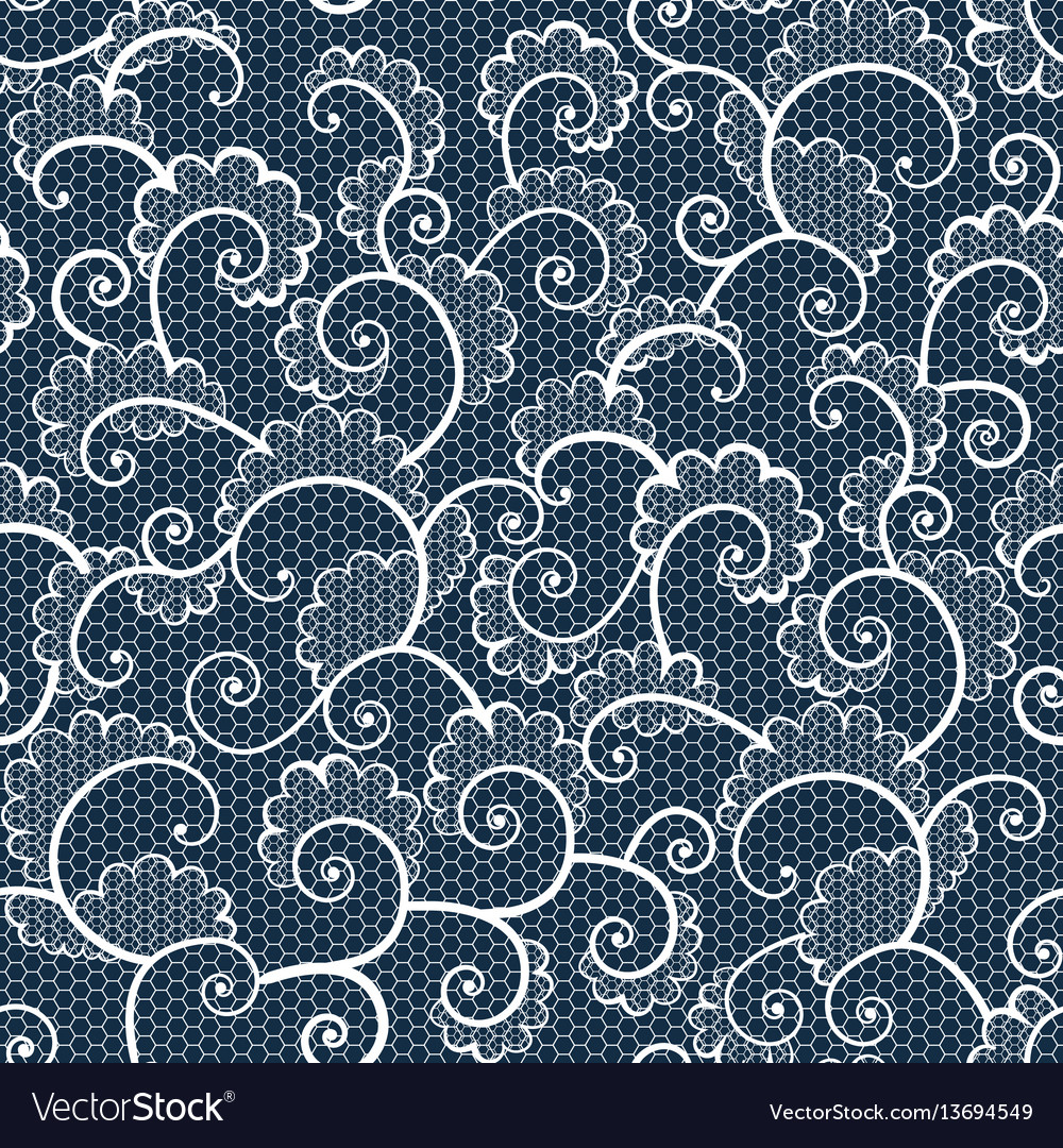Seamless white lace ornamental pattern with curls