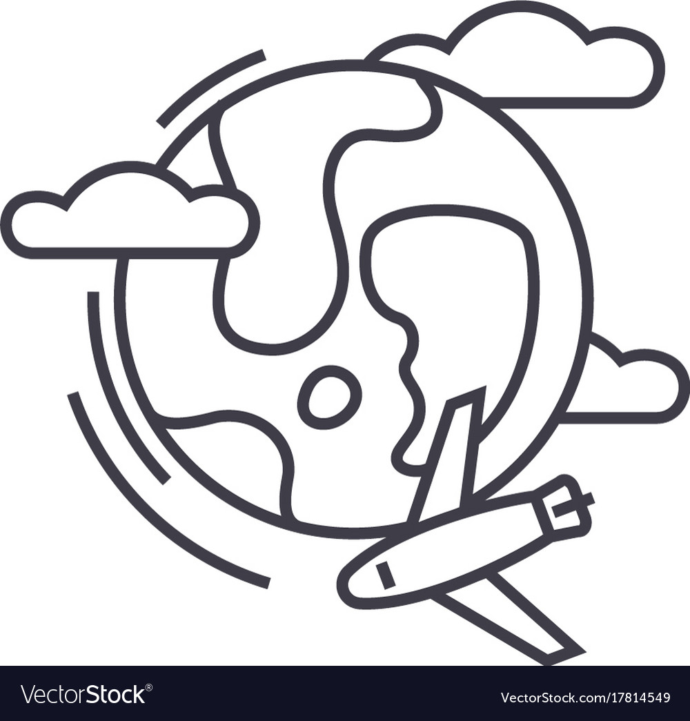 Travel around the world global tourairplane vector image