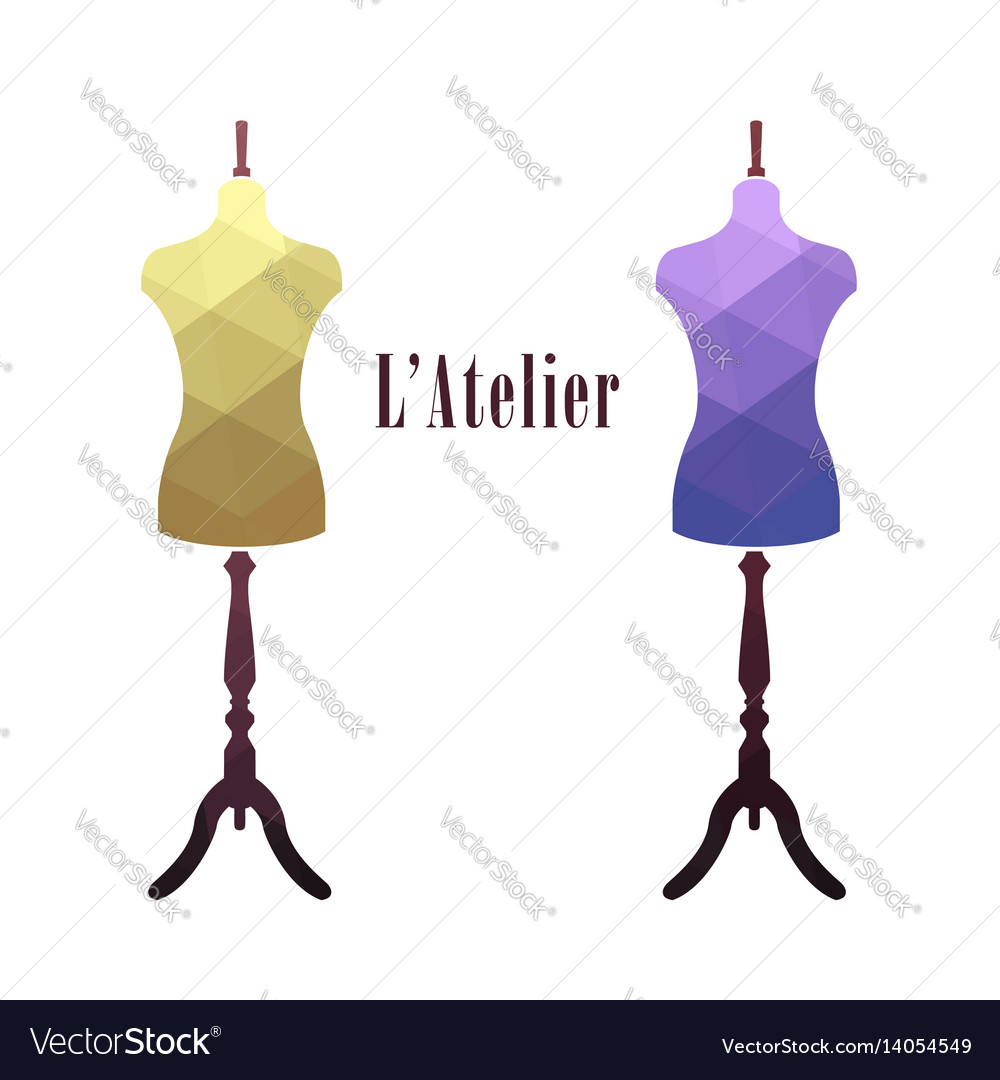 Vintage female tailor mannequin vector image