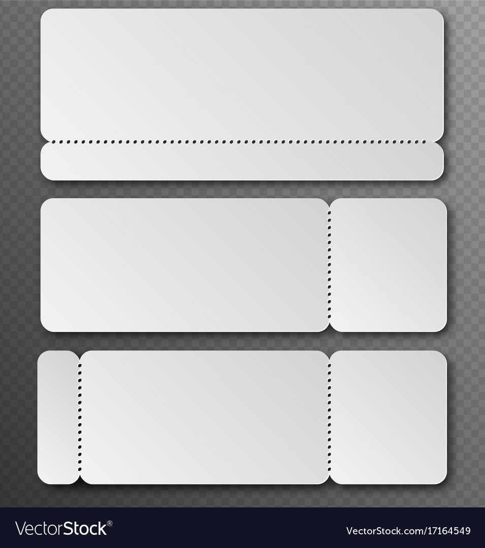White clear ticket template with tear-off element Vector Image