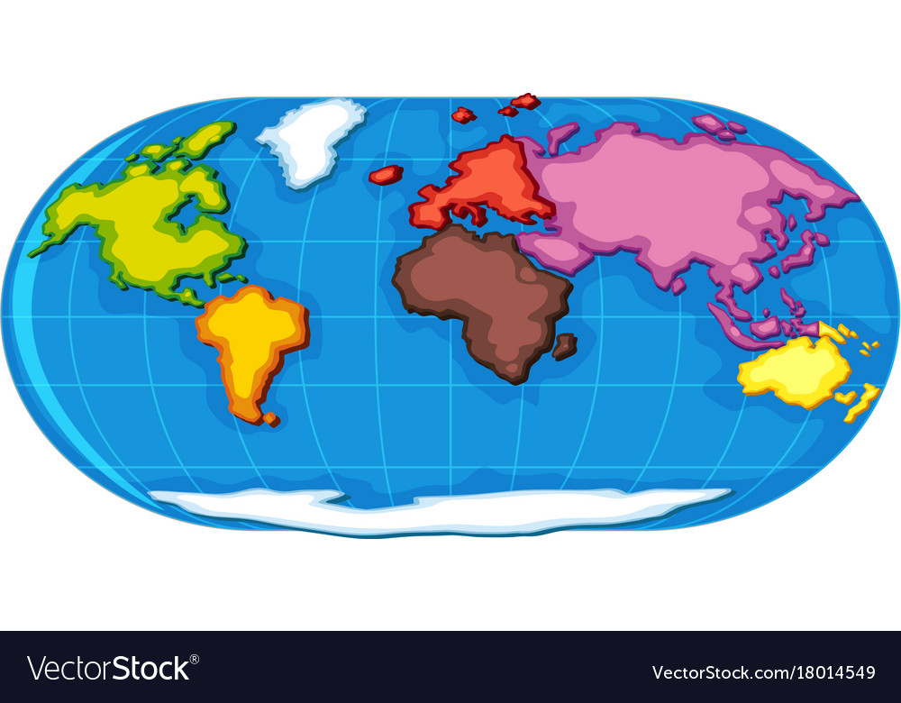 World Atlas With Seven Continents Vector Image