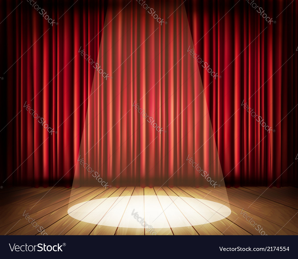 Theater Lights Background: A Theater Stage With A Red Curtain And A Spotlight