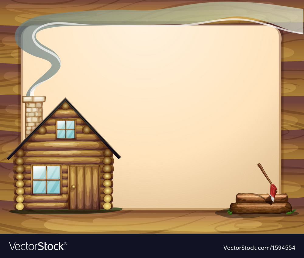 An empty template with a wooden house