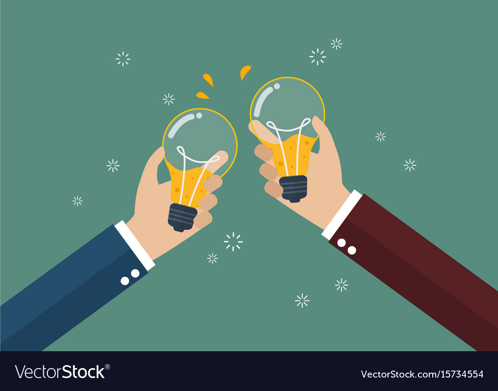 Businessmen toasting a lightbulb with beer inside
