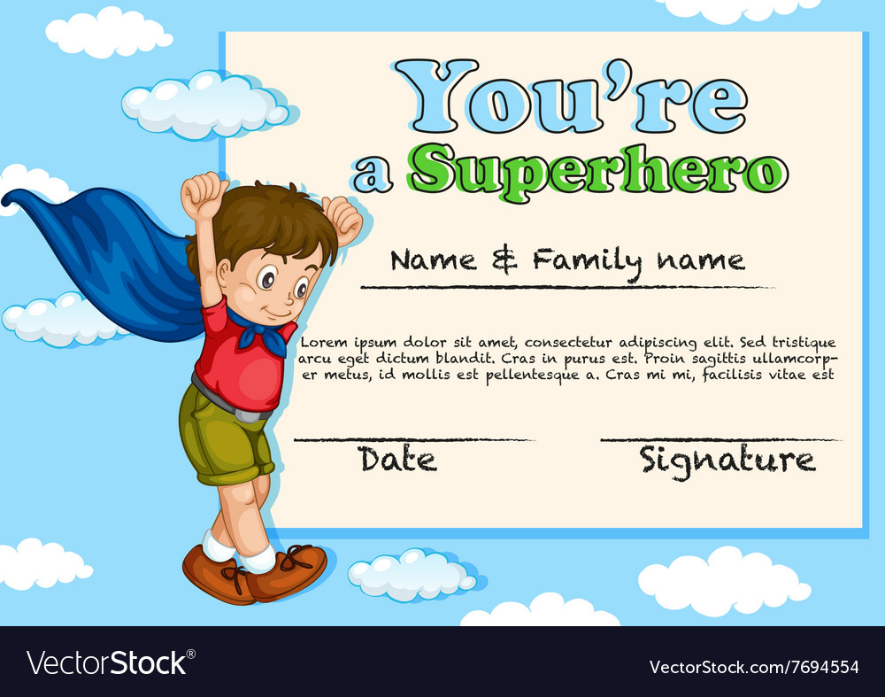 Certificate Design With Boy Being Superhero Vector Image