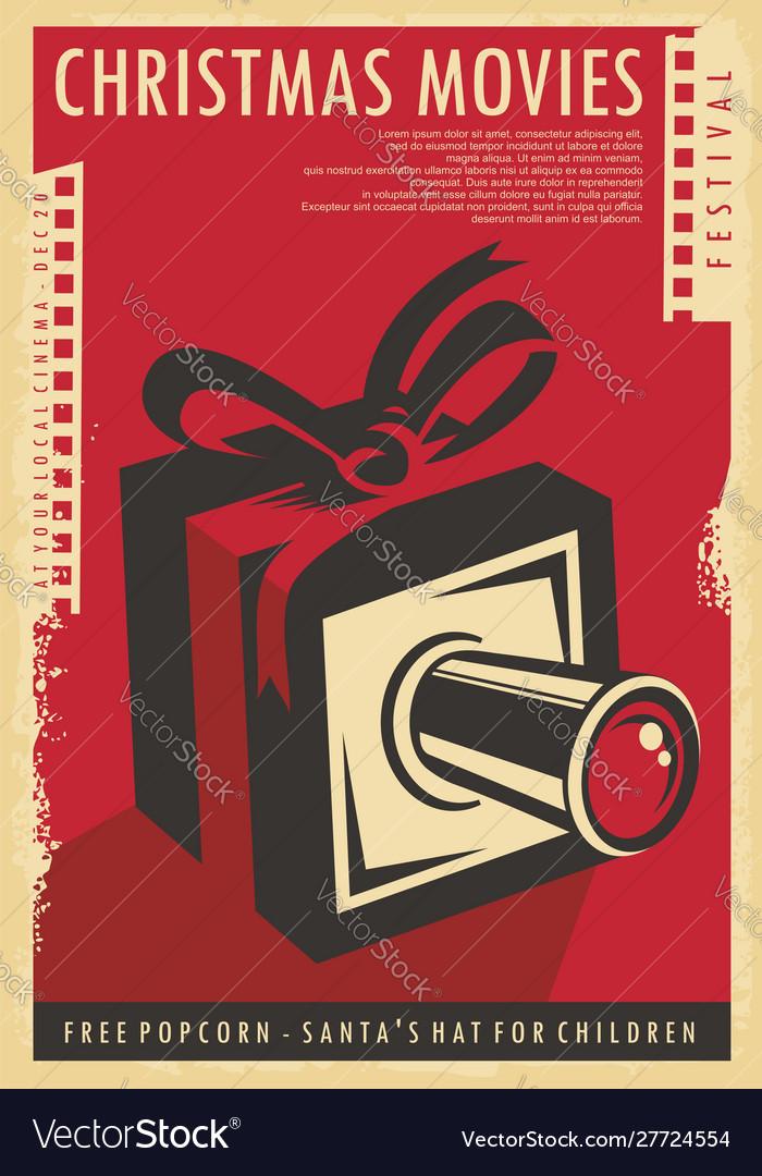 Christmas movies festival retro poster design