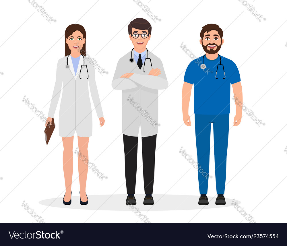 Doctors dressed in medical uniform two men and