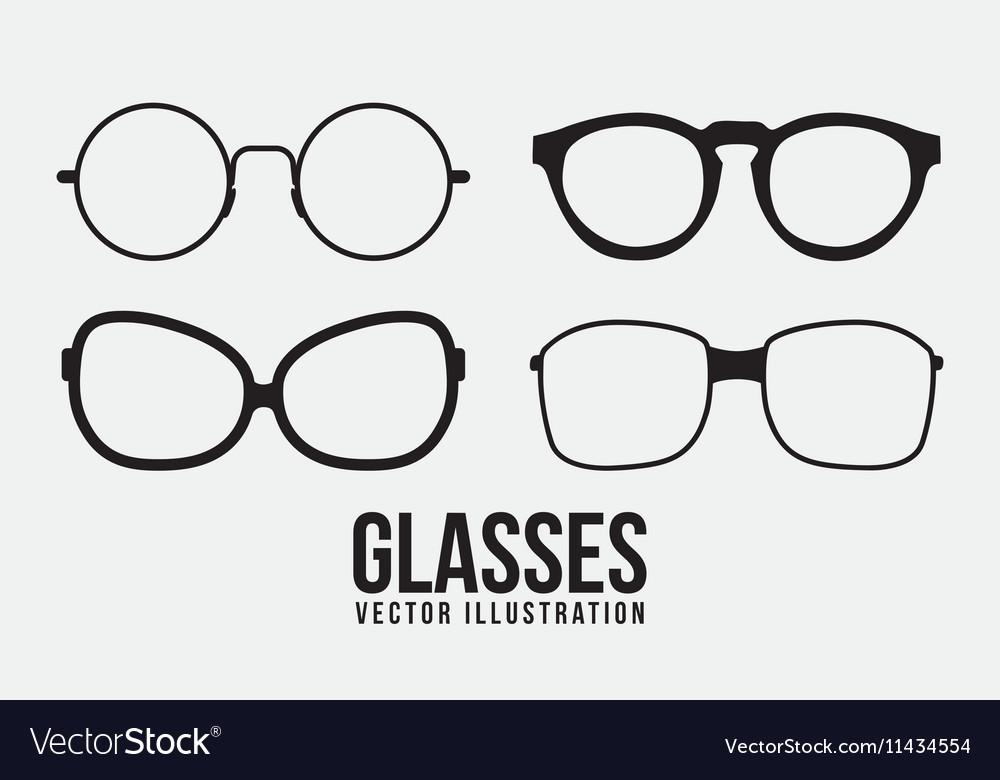 Fashion glasses object icon set