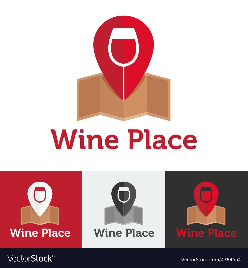 Flat wine shop or bar logo set