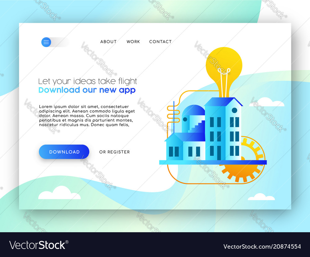 Online business landing page template for app idea online business landing page template for app idea vector image flashek Image collections