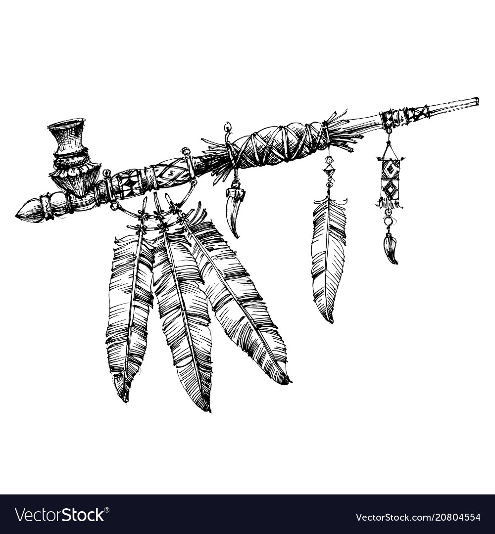 Pipe of peace drawing ceremonial native american vector image