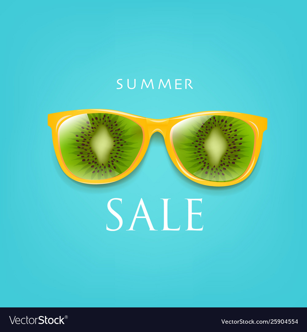 Sale poster sunglasses with kiwi and with mint