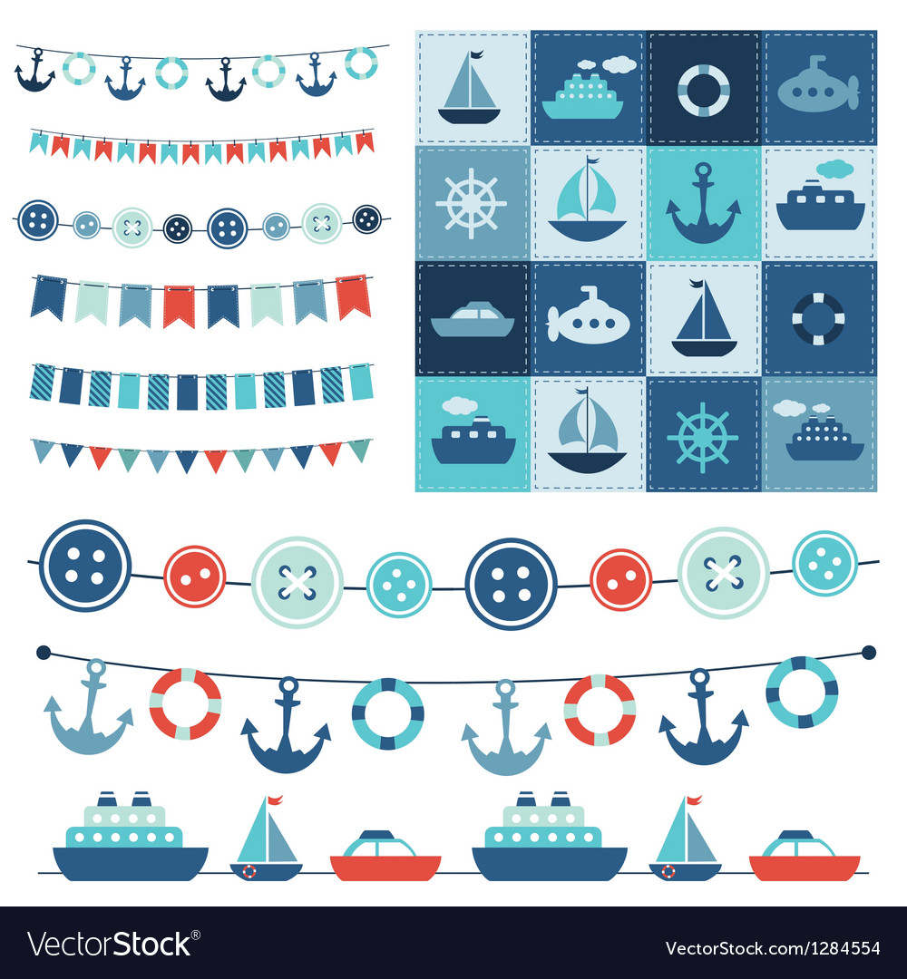 Sea theme garland and patchwork vector image