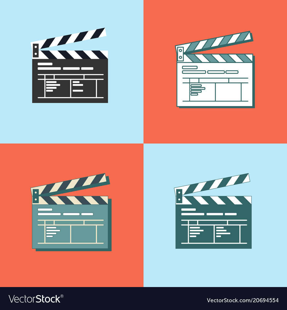 Set of simple clapper board icon in flat style