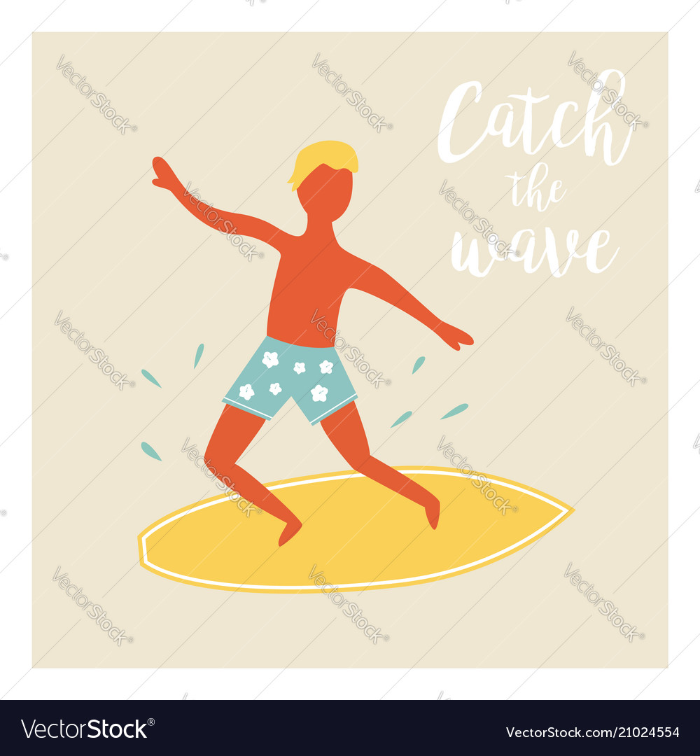 Surfer boy catching the wave vintage poster