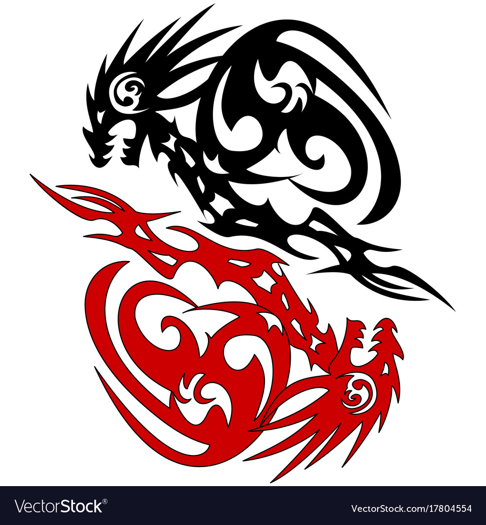 0cc70ef5ff41d Tattoo silhouette two dragon sketch Royalty Free Vector