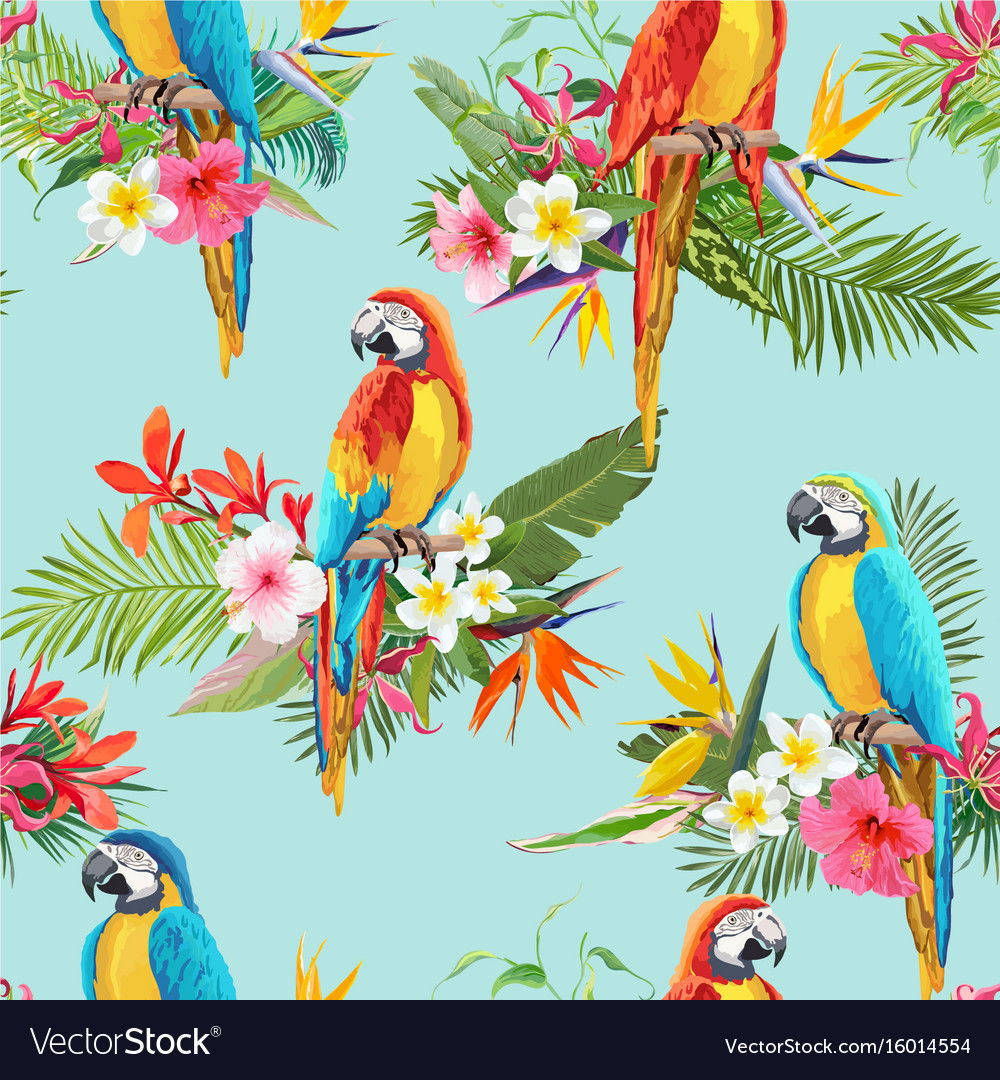 Tropical flowers and birds seamless background vector image