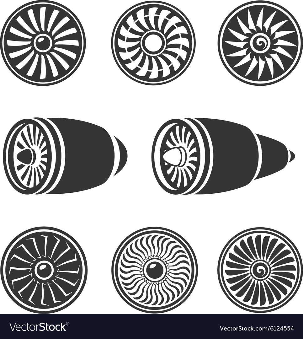 Turbines icons set airplane engine silhouettes