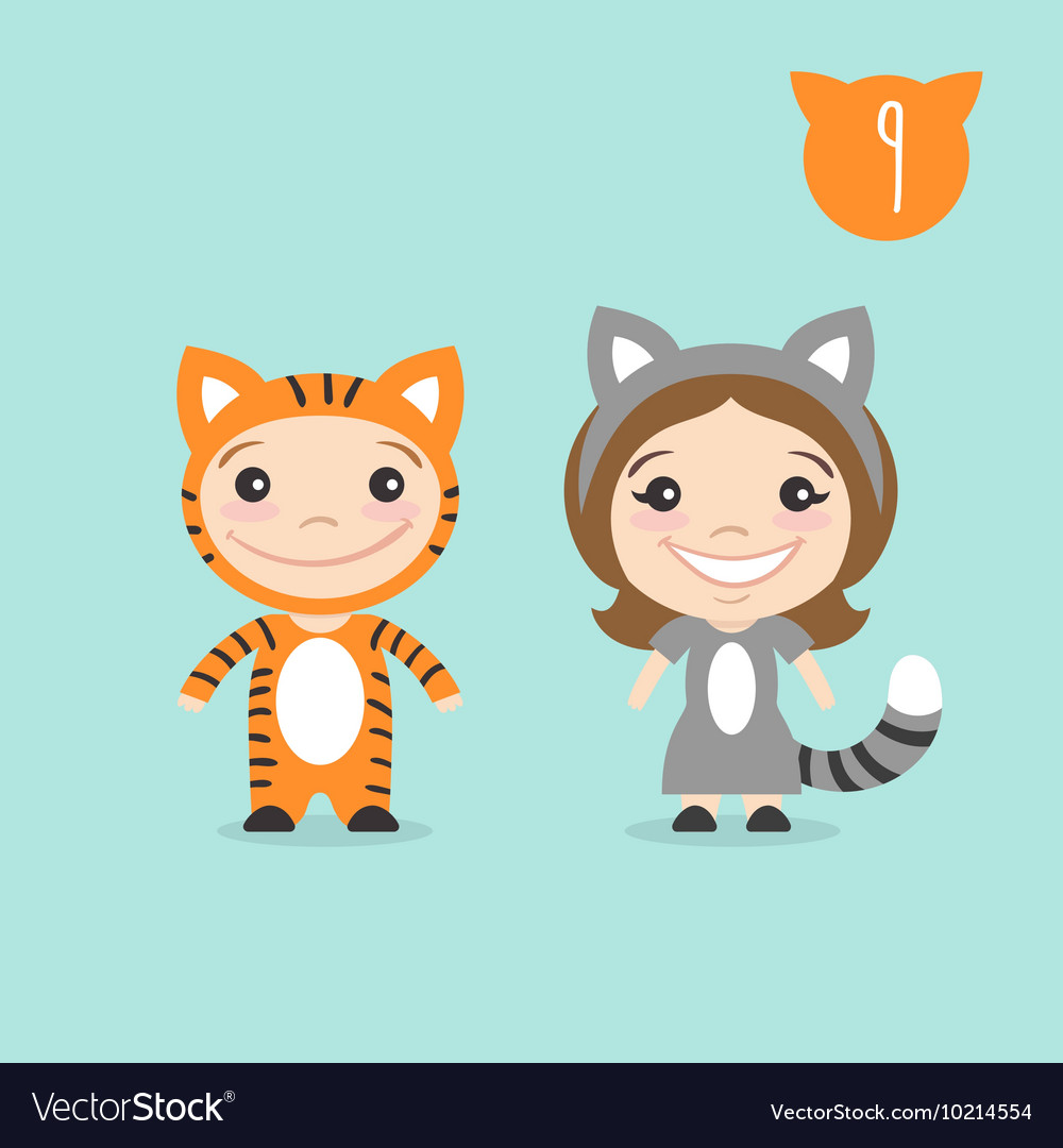 Two happy cute kids characters Boy in tiger