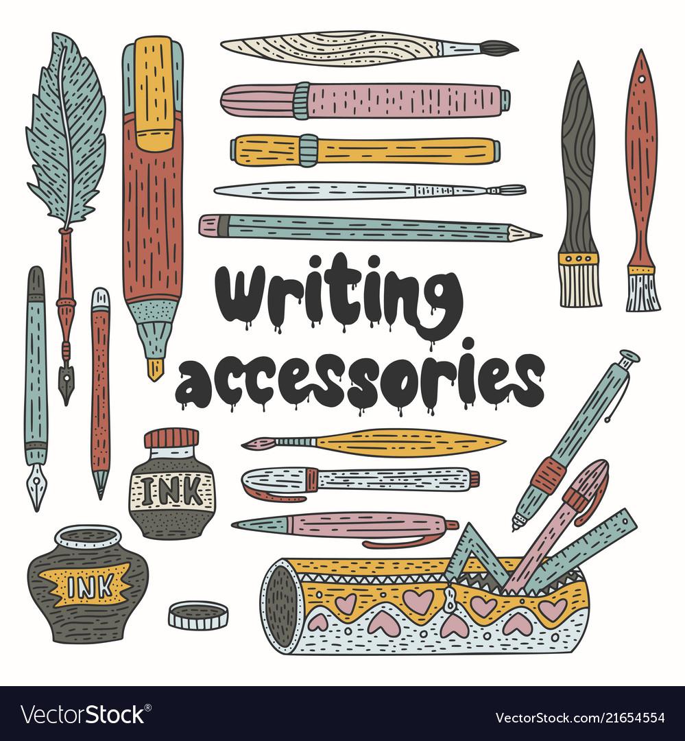 Writting accessories set doodle color