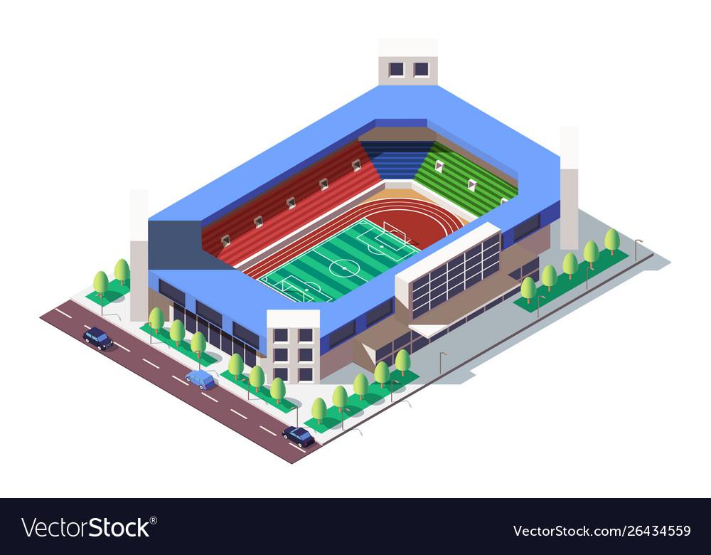 3d isometric square ground stadium near road with