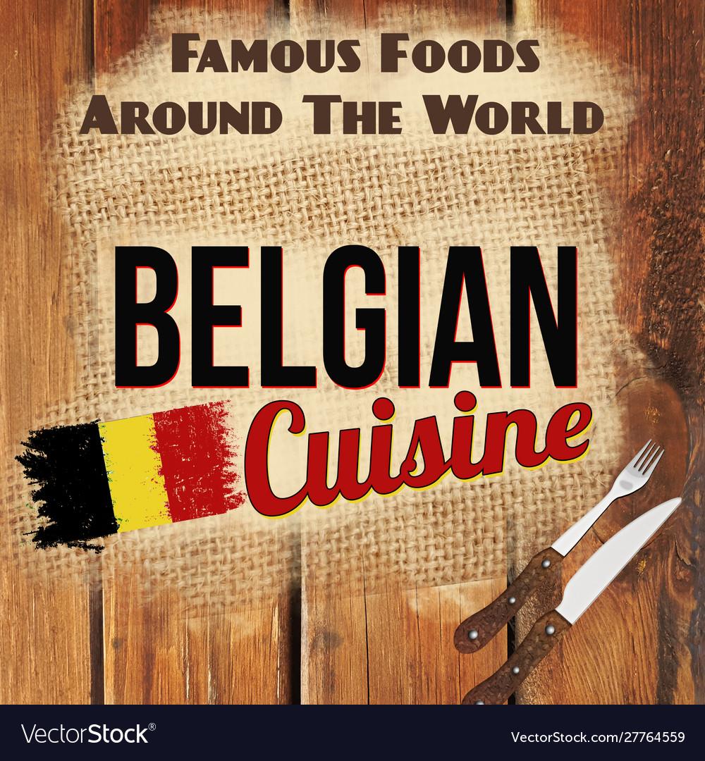 Belgian cuisine retro style poster