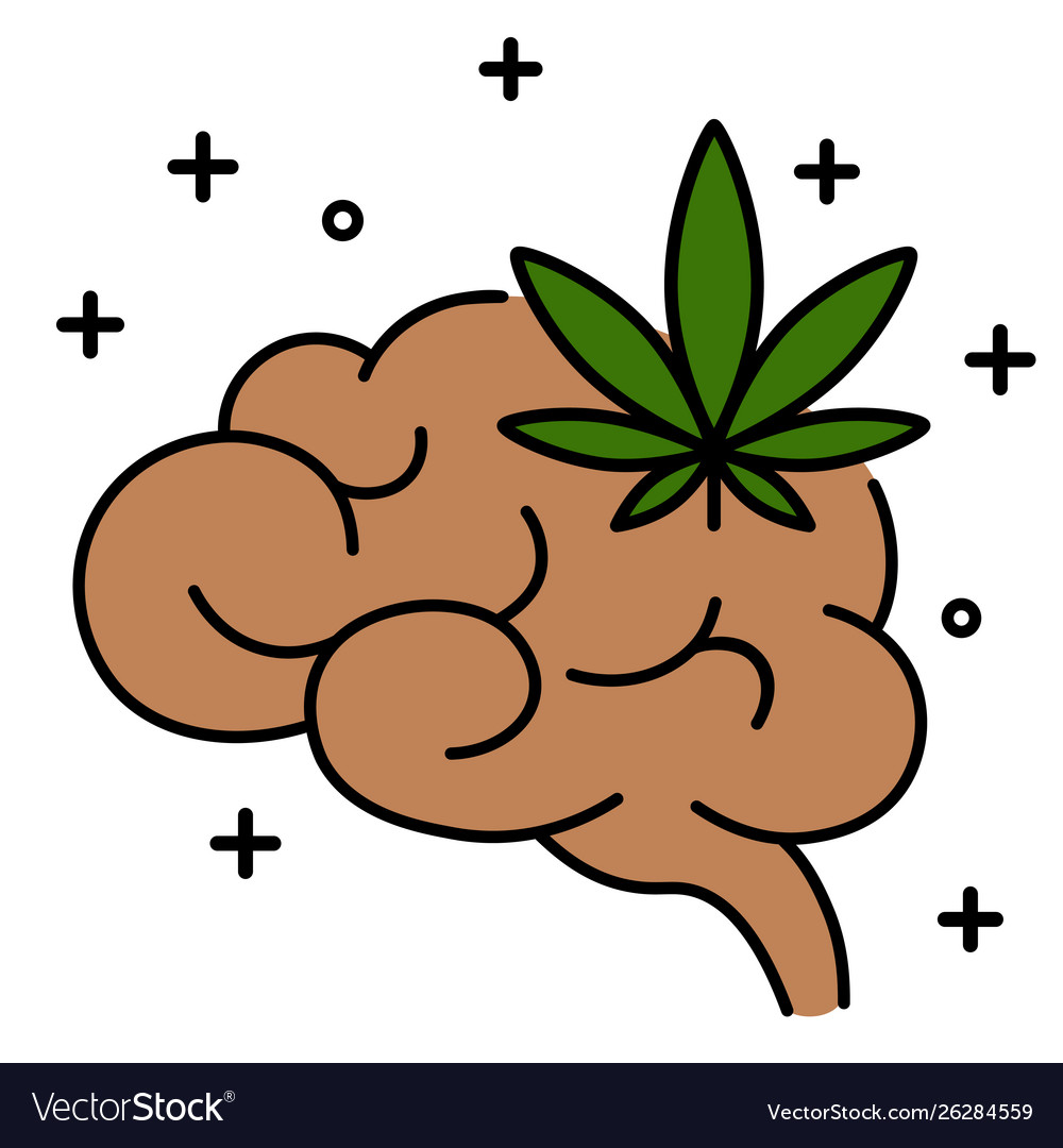 Cannabis leaf with brain line icon
