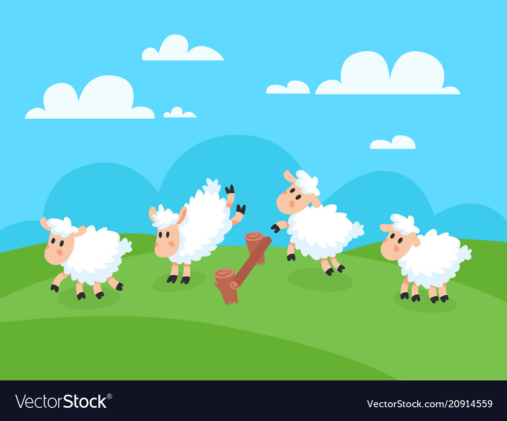 Counting jumping sheeps for goodnight sleep sheep