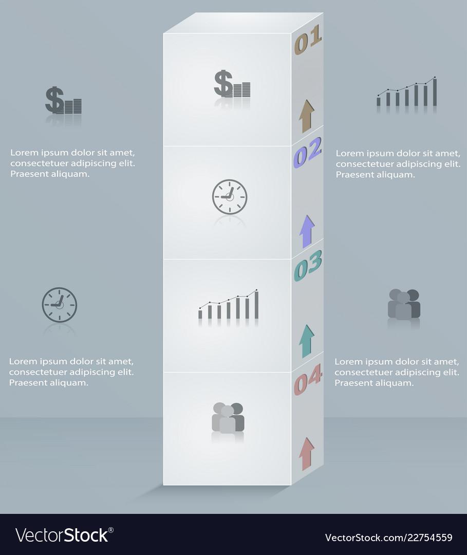 Infographics template business step success column