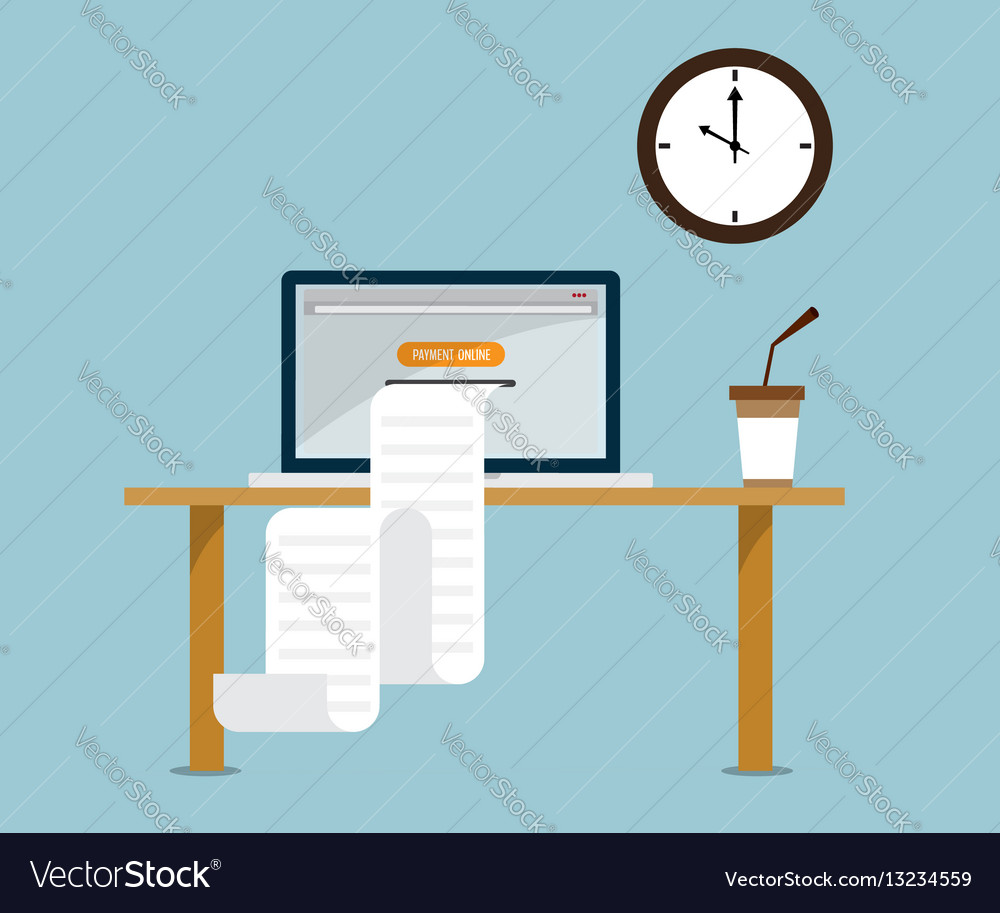 print payment online bill from laptop royalty free vector