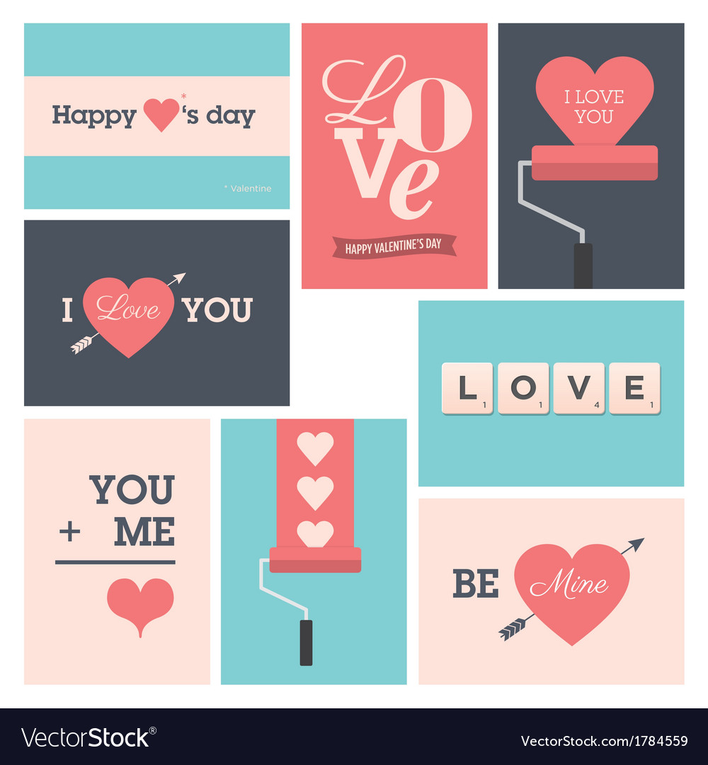 Set valentine cards