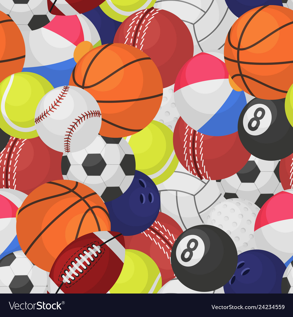 Sport ball seamless pattern sporting equipment
