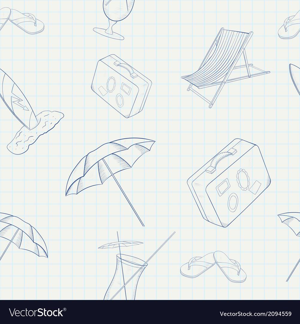 Summer Holiday Hand Drawn Seamless Pattern