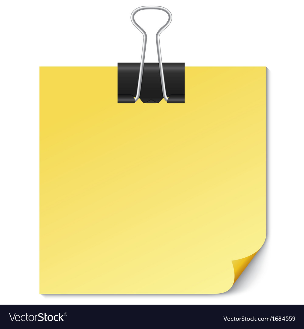 Yellow Note paper with Binder clip on white