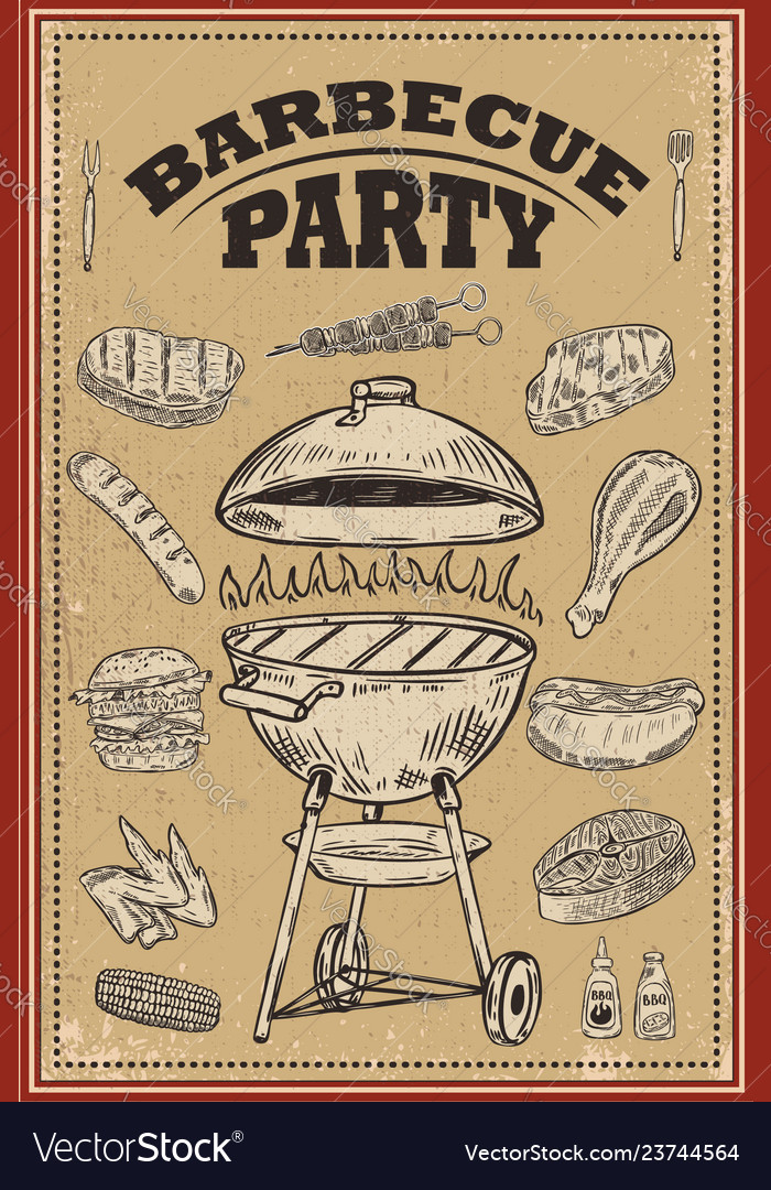 Bbq party poster with hand drawn design elements